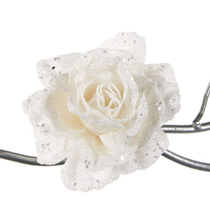 Christmas Glitter Rose Clip Ornament - White 11cm
