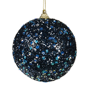 Christmas Glitter Sequined Bauble Ornament - Dark Blue