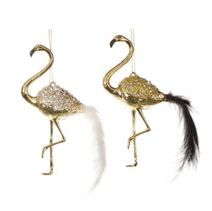 Christmas Gold Flamingo Ornaments