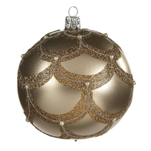 Christmas Gold Glass Bauble with Glitter Scale Embellishment