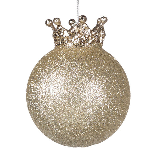Christmas Gold Glitter Crown Top Glass Bauble