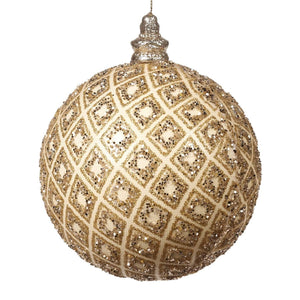 Christmas Gold Glitter Net Glass Bauble Ornament