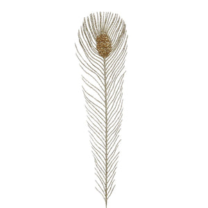 Christmas Gold Glitter Peacock Feather Stem Decoration