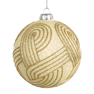 Christmas Gold Glitter Swirl Embellished Glass Bauble