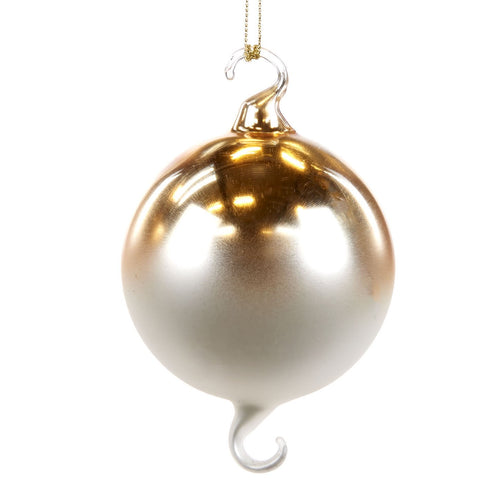 Christmas Gold Gradient Glass Bauble with Hooks