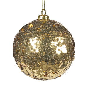 Christmas Gold Sequin Glass Bauble - 10cm