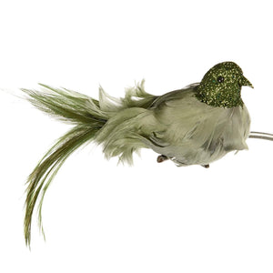 Christmas Green Feathered Bird Clip Ornament