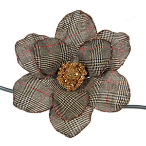 Christmas Houndstooth Magnolia Clip Ornament