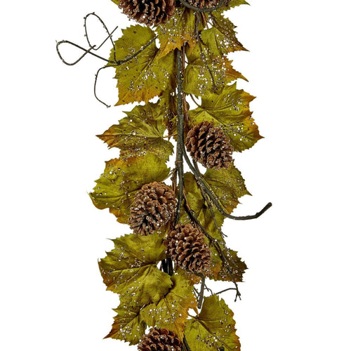 Christmas Icy Grape Leaf Garland with Pinecones