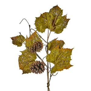 Christmas Icy Grape Leaf Stem with Pinecones Decoration-71cm