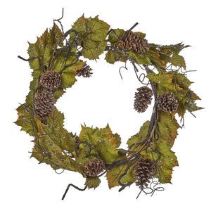 Christmas Icy Grape Leaf Wreath with Pinecones