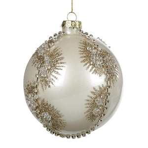 Christmas Jewel Fan Glass Bauble - White & Gold