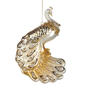 Christmas Jewel Peacock Glass Ornament