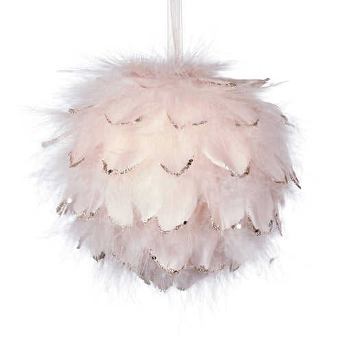 Christmas Light Pink Feathered Glass Bauble
