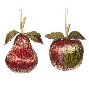 Christmas Metallic Apple Pear Ornament Pair