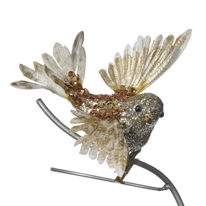Christmas Metallic Fly Bird Clip Ornament