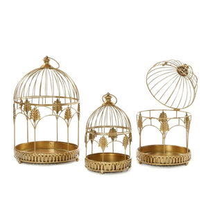 Christmas Metallic Gold Bird Cage