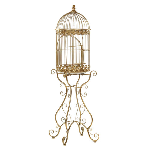 Christmas Metallic Gold Bird Cage with Stand