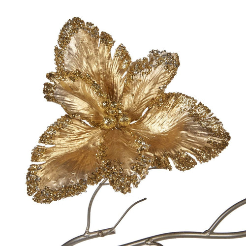 Christmas Metallic Gold Flower Clip Ornament - 23cm