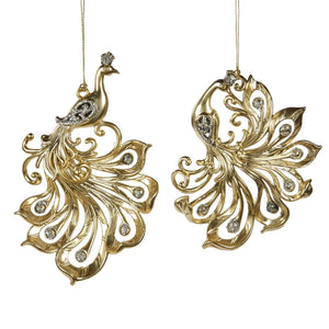 Christmas Metallic Gold Swirl Tail Peacock Ornaments