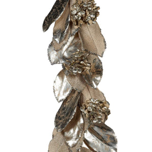 Christmas Metallic Leaf Garland - Silver and Champagne