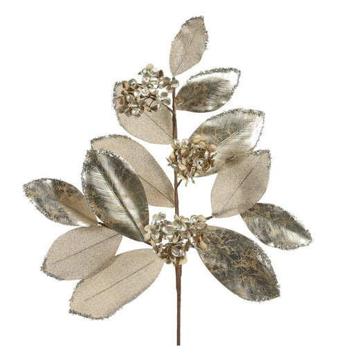 Christmas Metallic Leaf Stem - Silver Champagne - 89cm