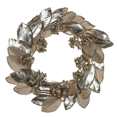Christmas Metallic Leaf Wreath - Silver Champagne