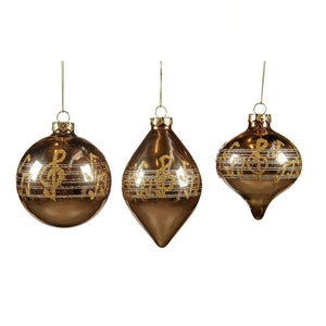 Christmas Music Notes Glass Bauble 10cm