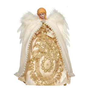 Christmas Porcelain Angel Topper with Feather and Lace