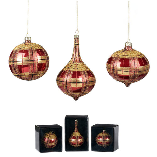 Christmas Red & Gold Tartan Glass Bauble