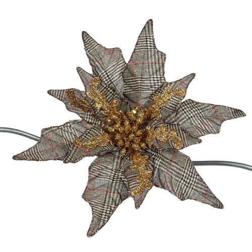 Christmas Royal Houndstooth Poinsettia Clip Ornament