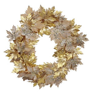 Christmas Sequin Maple Leaf Wreath