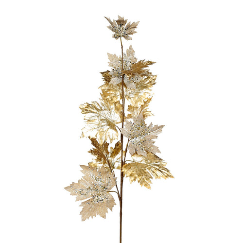 Christmas Sequined Maple Leaf Stem-97cm