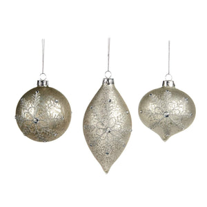 Christmas Silver Flower Embellished Glass Ornaments