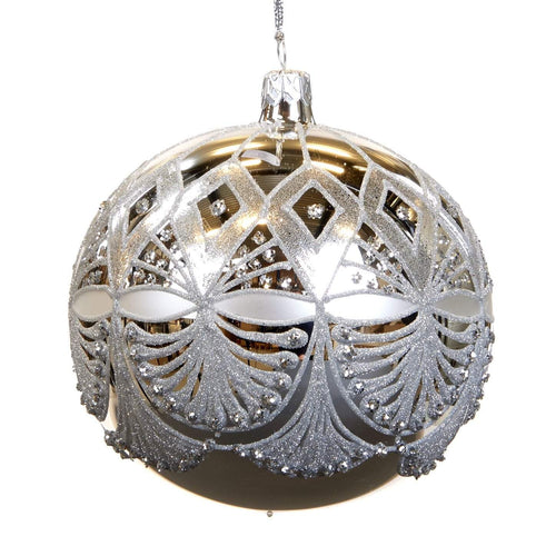 Christmas Silver Geometric Fan Glass Bauble Ornament