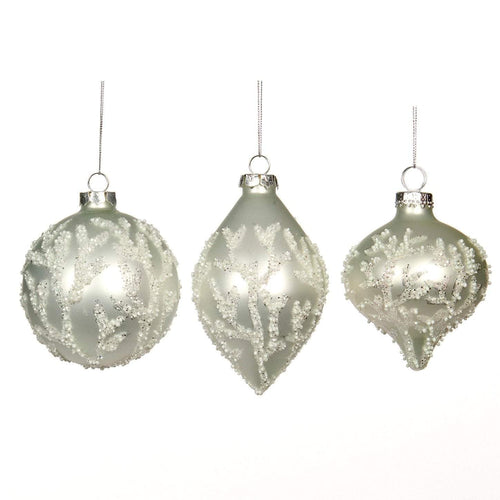 Christmas Silver Glass Bauble with Beaded Coral Embellishment