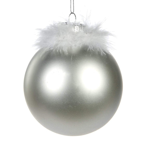 Christmas Silver Glass Bauble with Feather Embellishment