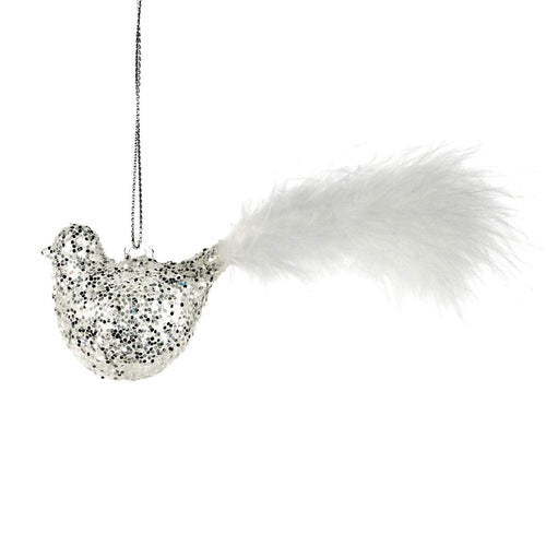 Christmas Silver Glitter Glass Bird Ornament