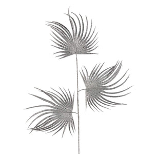 Christmas Silver Glitter Triple Fan Palm Leaf Stem Decoration - 80cm