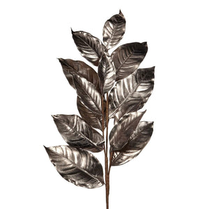 Christmas Silver Metallic Magnolia Leaf Stem Decoration - 94cm