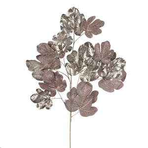 Christmas Silver & Pink Metallic Fig Leaf Stem Decoration - 101cm