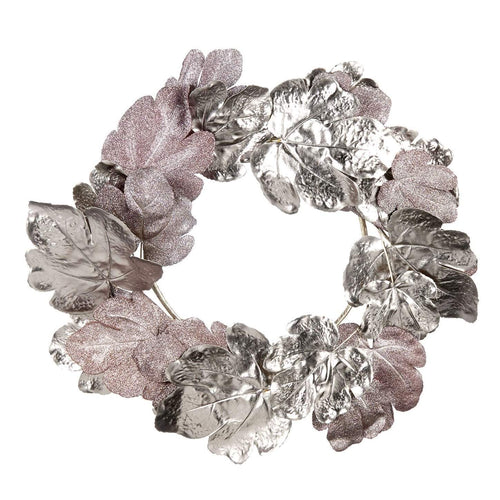 Christmas Silver & Pink Metallic Fig Leaf Wreath