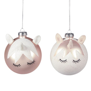 Christmas Sleeping Unicorn Glass Bauble 8cm - Pink & White