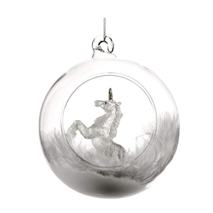 Christmas Unicorn Glass bauble Ornament
