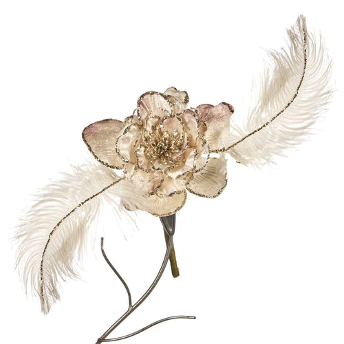 Christmas Velvet Feather Rose Clip Ornament - 30cm