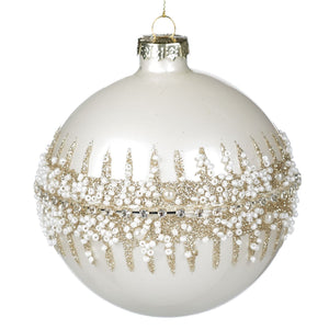 Christmas White Glass Bauble with Gold Beaded Embellishment