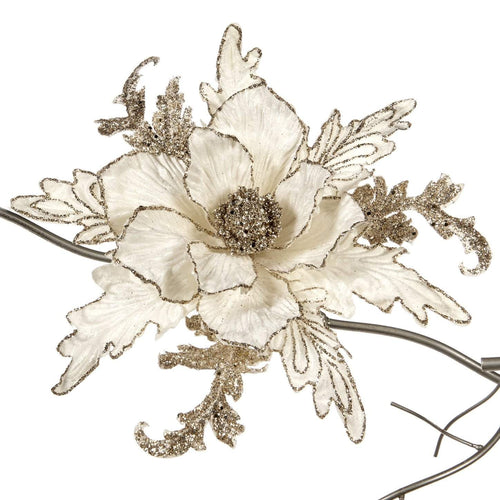 Christmas White Magnolia on Clip Ornament - 26cm