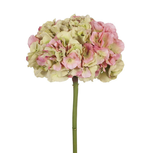 Faux Flower Hydrangea no leaf- Green and Mauve