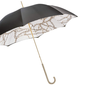 Pasotti Umbrella Black Chains Double Cloth with Swarovski Crystals
