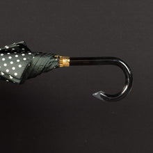 Load image into Gallery viewer, Pasotti Umbrella Black with White Polka Dot Umbrella: Acetate Handle
